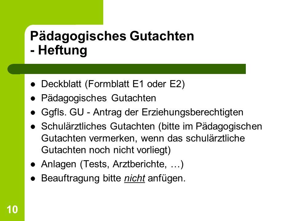 Pädagogisches Gutachten - Heftung