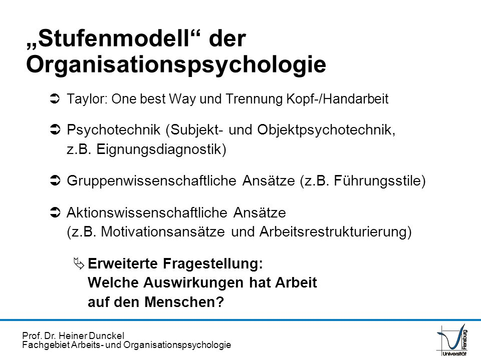 """""""Stufenmodell der Organisationspsychologie"""