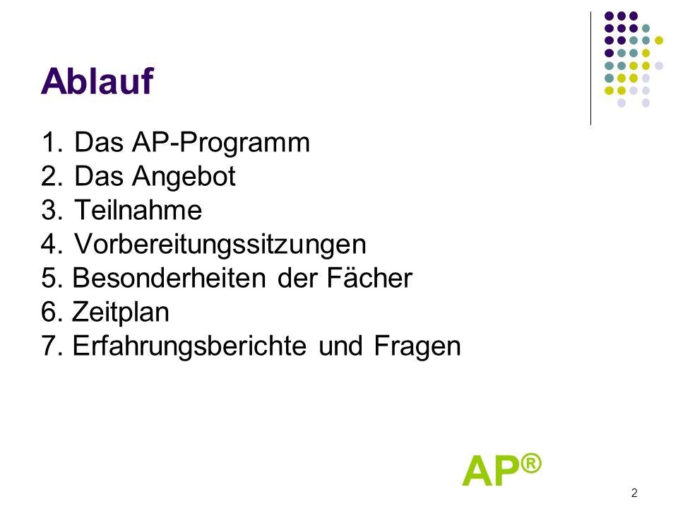 Ablauf 1. Das AP-Programm 2. Das Angebot 3. Teilnahme