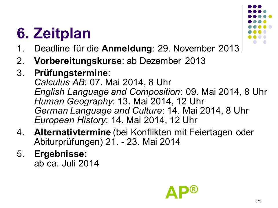 6. Zeitplan 1. Deadline für die Anmeldung: 29. November 2013