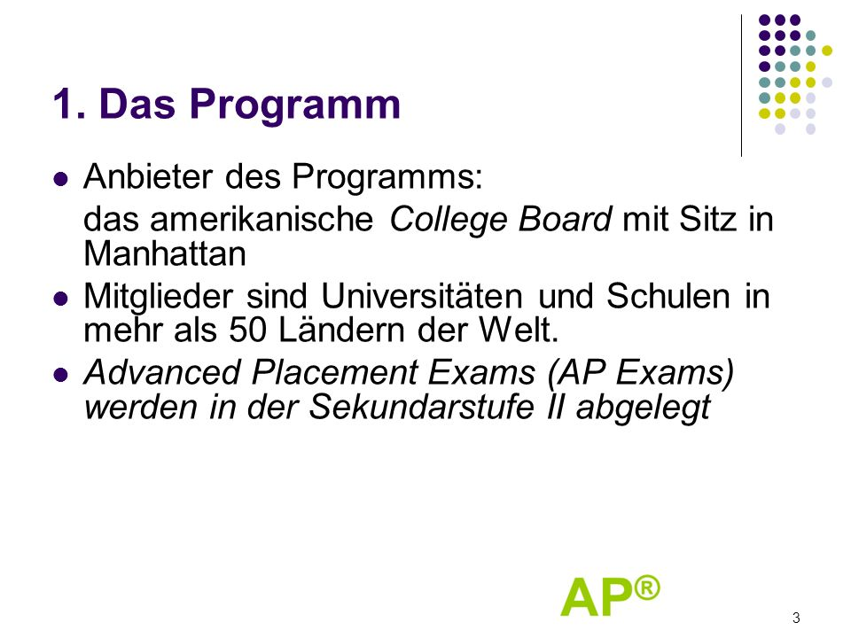 1. Das Programm Anbieter des Programms: