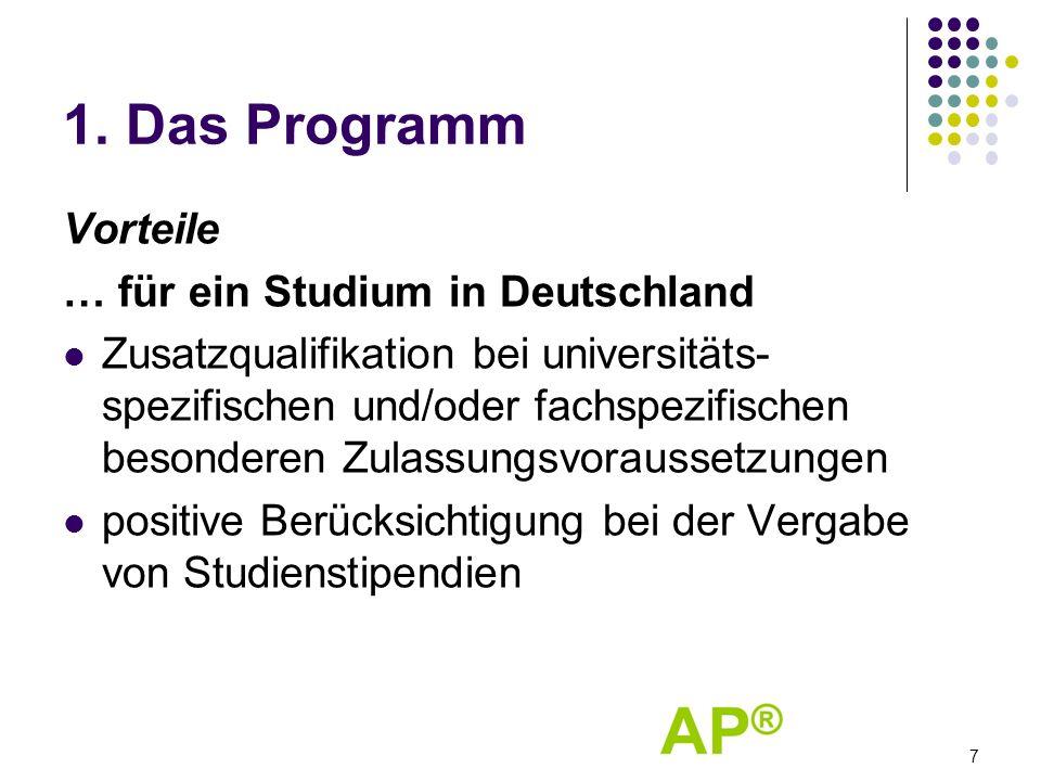 1. Das Programm Vorteile … für ein Studium in Deutschland