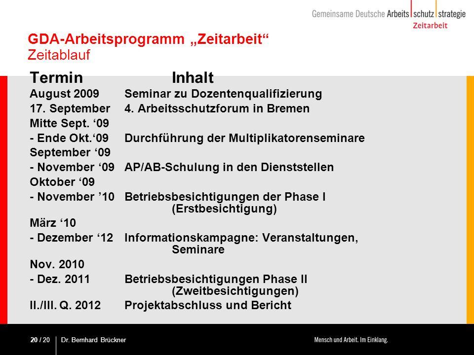 """GDA-Arbeitsprogramm """"Zeitarbeit Zeitablauf"""