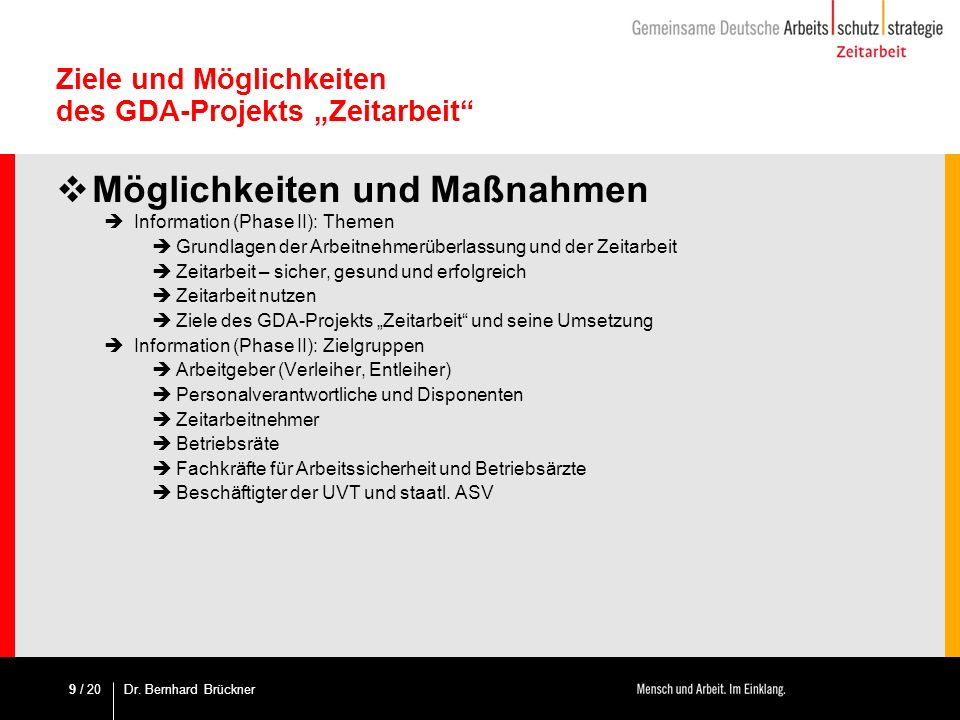 """Ziele und Möglichkeiten des GDA-Projekts """"Zeitarbeit"""