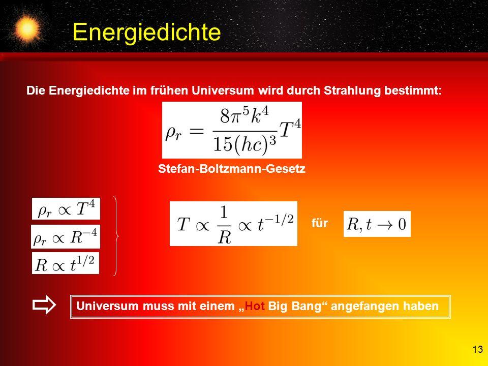 Energiedichte Die Energiedichte im frühen Universum wird durch Strahlung bestimmt: Stefan-Boltzmann-Gesetz.