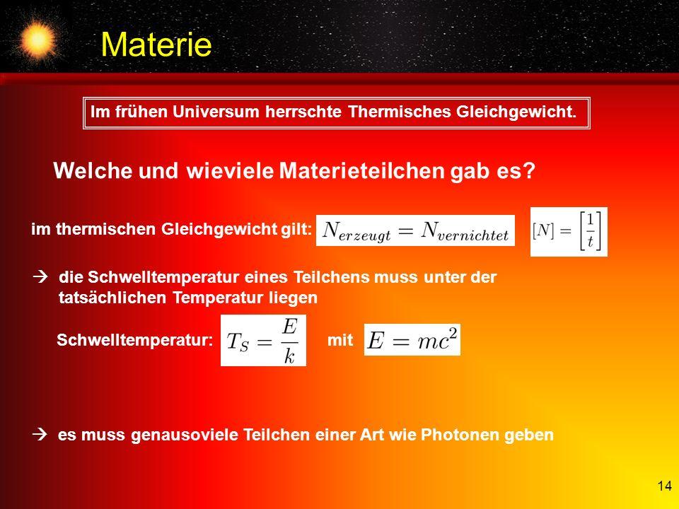 Materie Welche und wieviele Materieteilchen gab es