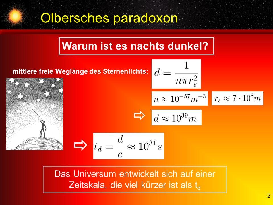  Olbersches paradoxon Warum ist es nachts dunkel