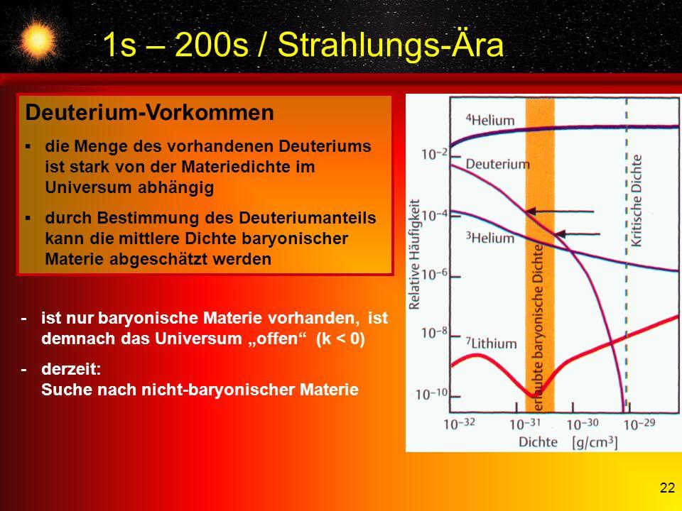 1s – 200s / Strahlungs-Ära Deuterium-Vorkommen