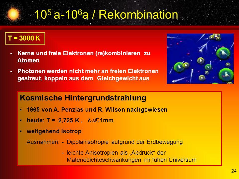105 a-106a / Rekombination Kosmische Hintergrundstrahlung T = 3000 K