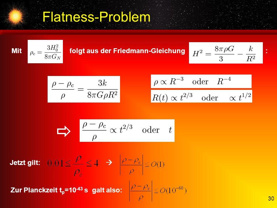  Flatness-Problem Mit folgt aus der Friedmann-Gleichung :