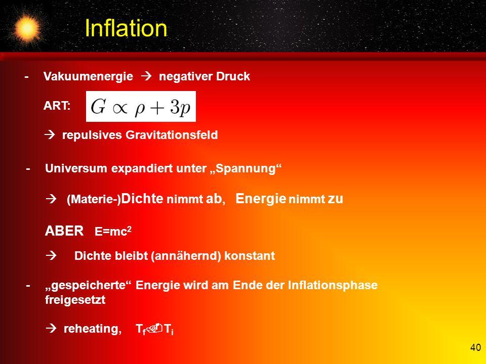 Inflation ABER E=mc2 - Vakuumenergie  negativer Druck ART: