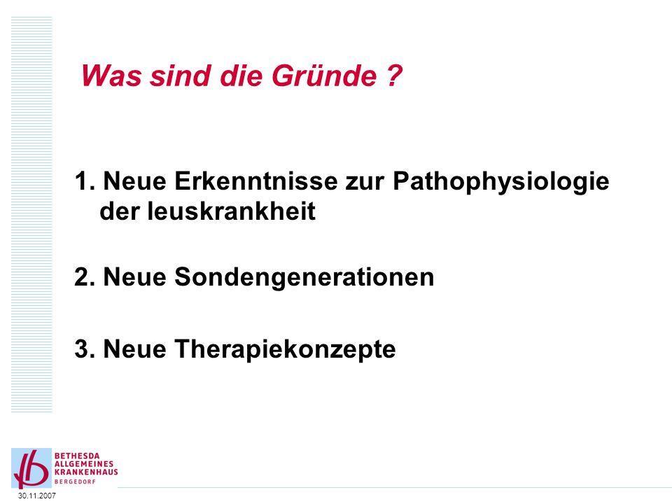 Was sind die Gründe 1. Neue Erkenntnisse zur Pathophysiologie der leuskrankheit. 2. Neue Sondengenerationen.