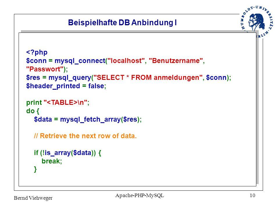 Beispielhafte DB Anbindung I