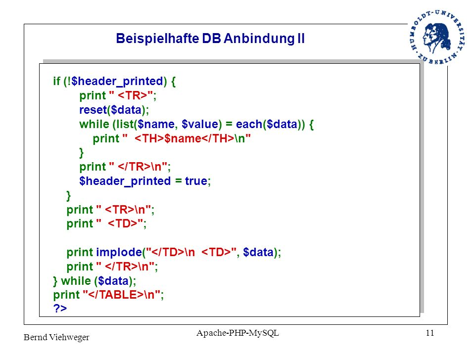 Beispielhafte DB Anbindung II