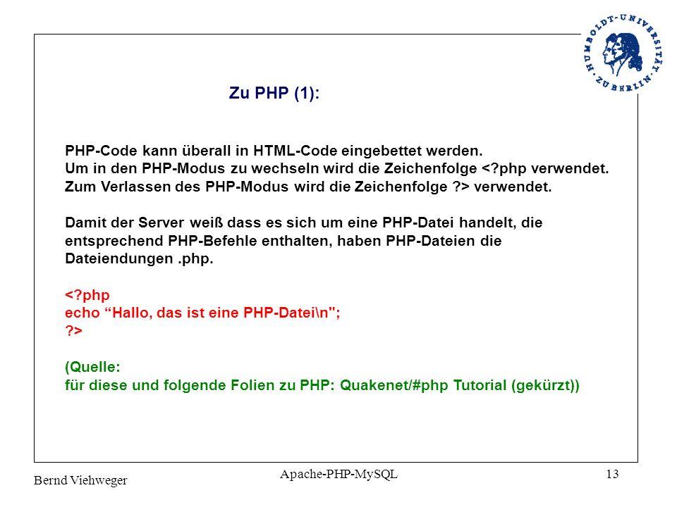 Zu PHP (1): PHP-Code kann überall in HTML-Code eingebettet werden.