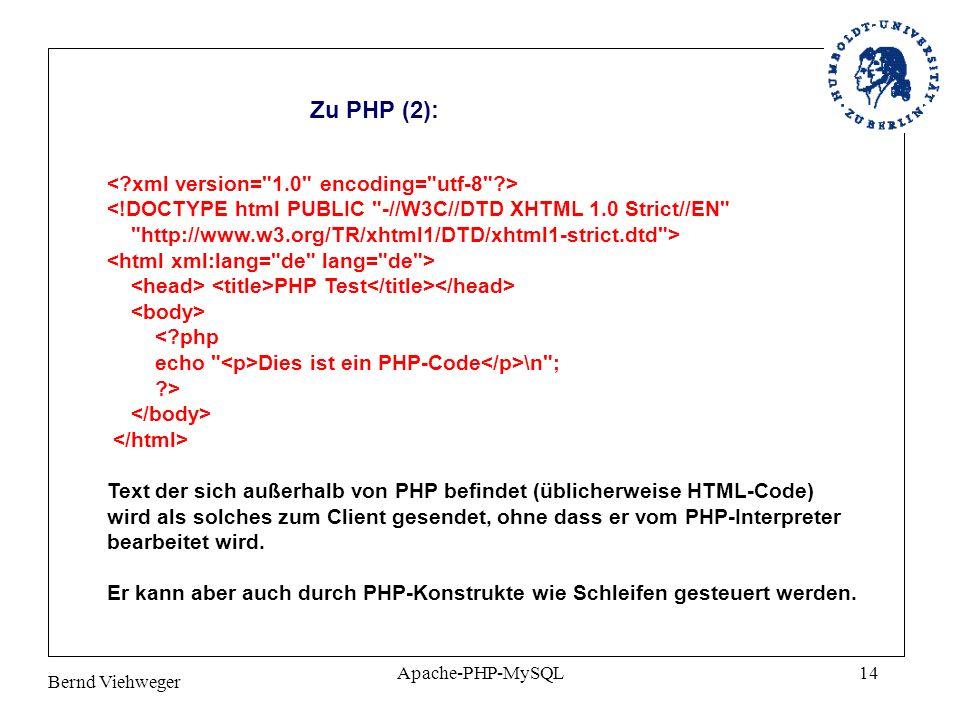 Zu PHP (2):