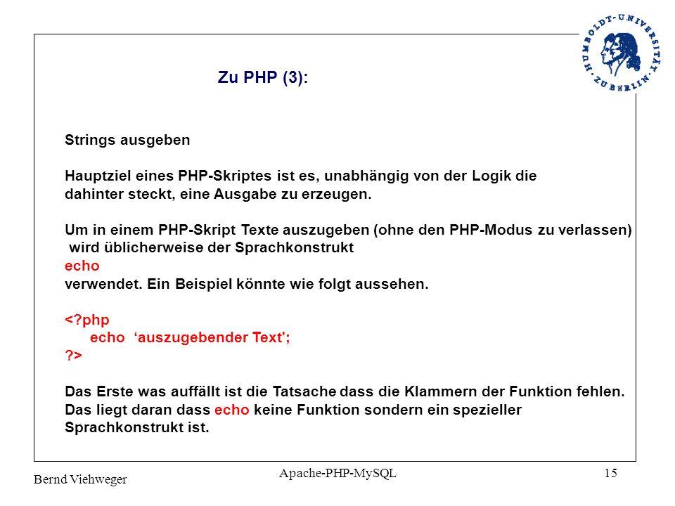 Zu PHP (3): Strings ausgeben