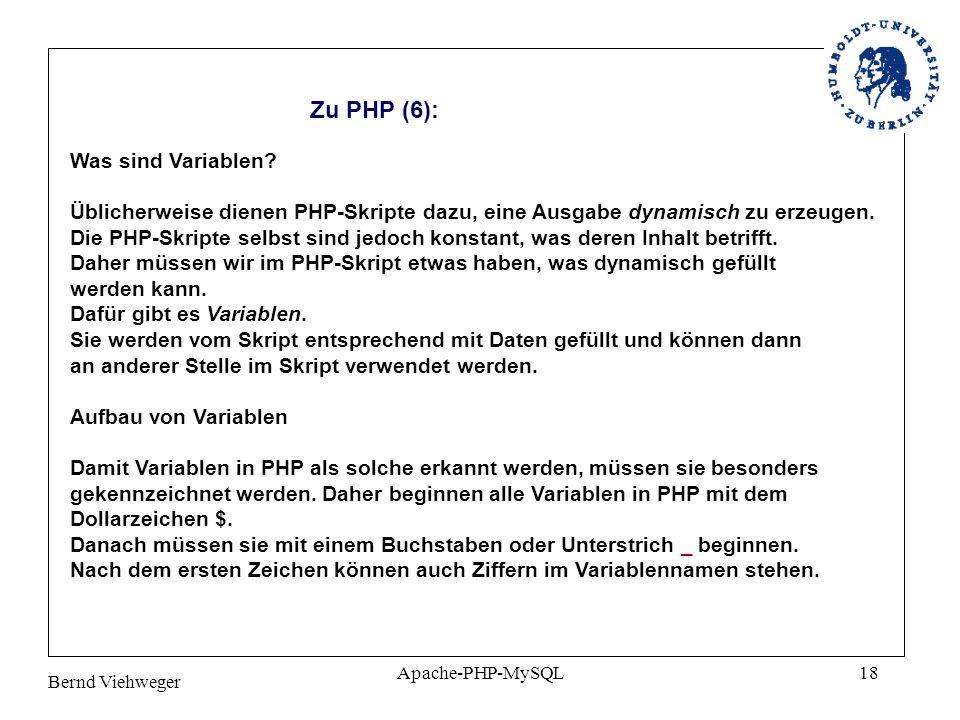 Zu PHP (6): Was sind Variablen
