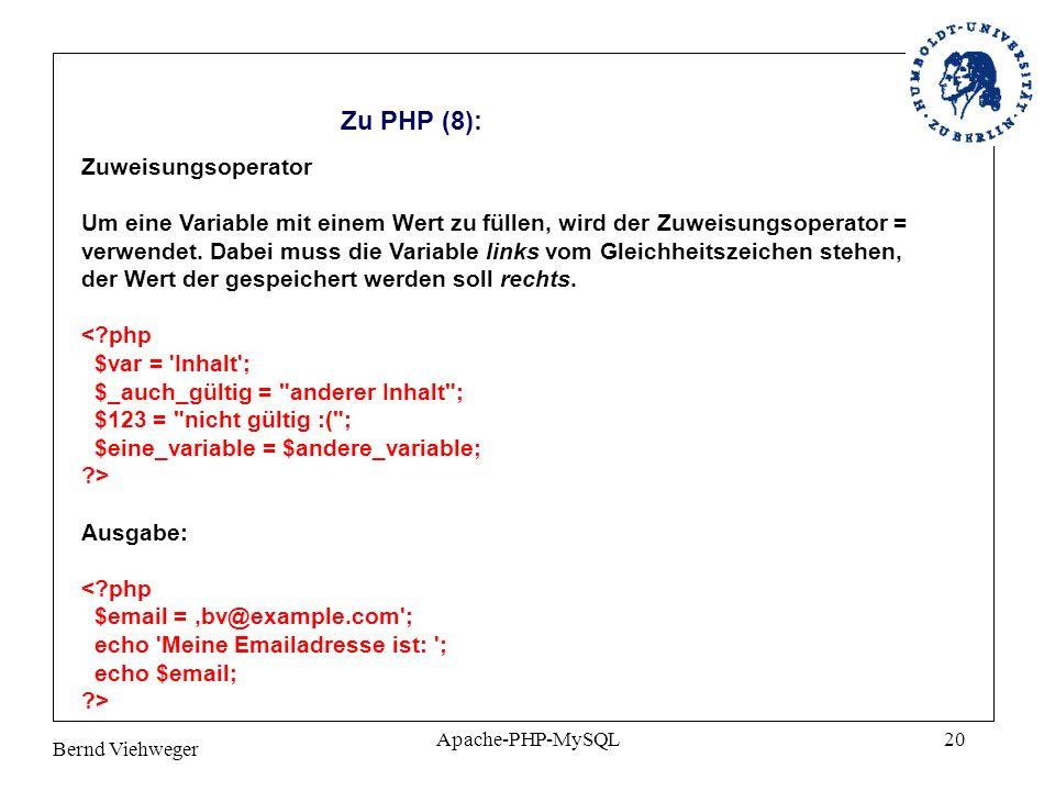 Zu PHP (8): Zuweisungsoperator