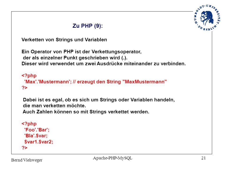 Zu PHP (9): Verketten von Strings und Variablen