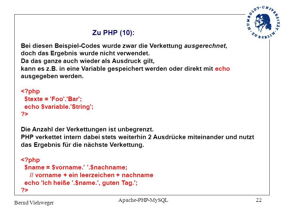Zu PHP (10): Bei diesen Beispiel-Codes wurde zwar die Verkettung ausgerechnet, doch das Ergebnis wurde nicht verwendet.