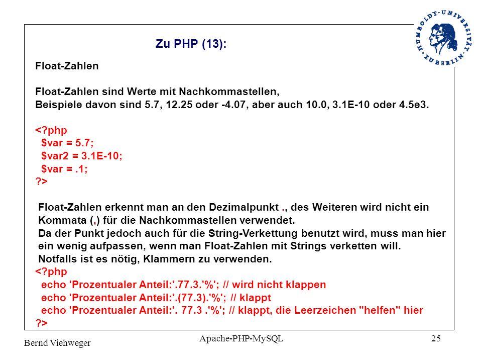 Zu PHP (13): Float-Zahlen