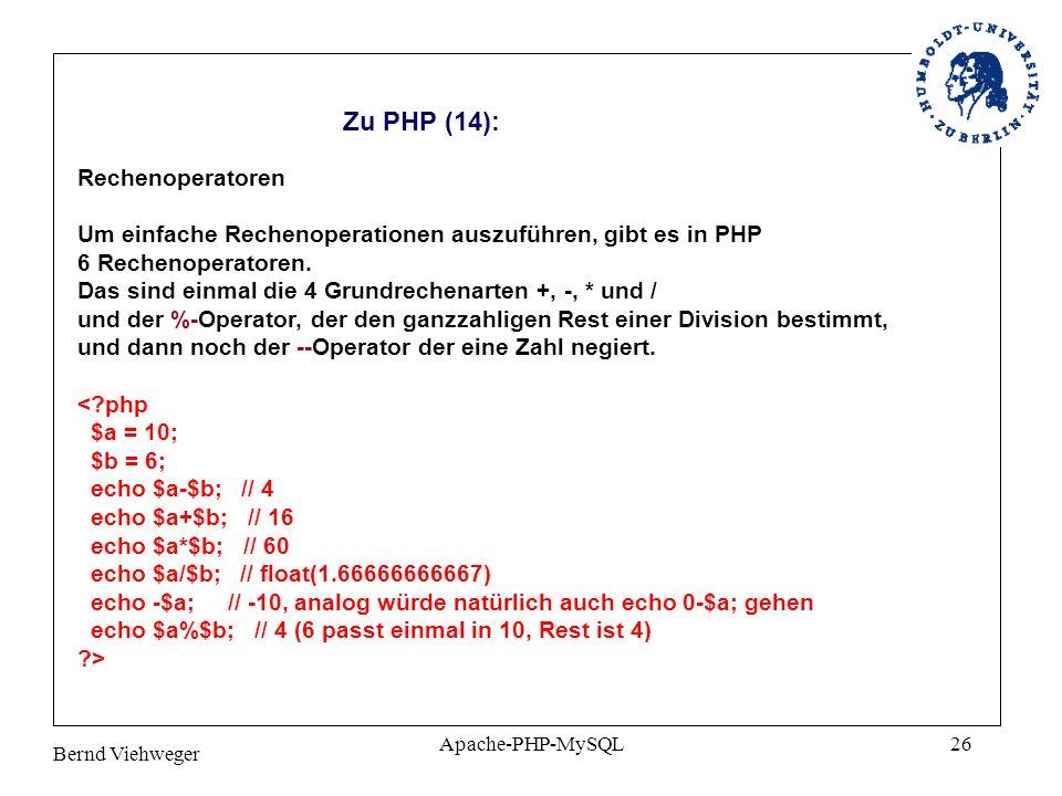 Zu PHP (14): Rechenoperatoren