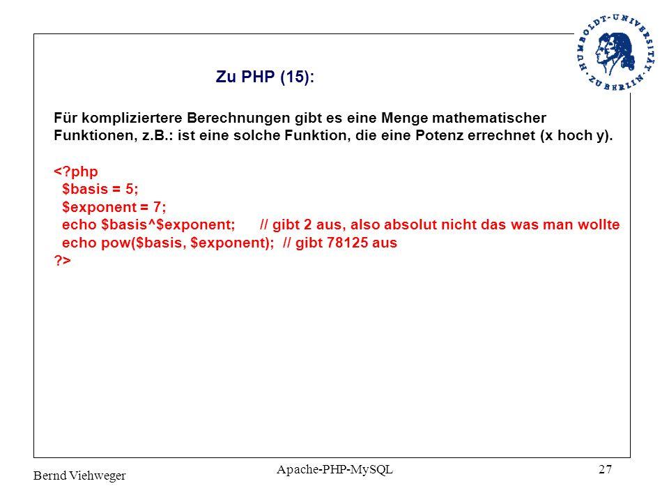 Zu PHP (15): Für kompliziertere Berechnungen gibt es eine Menge mathematischer.