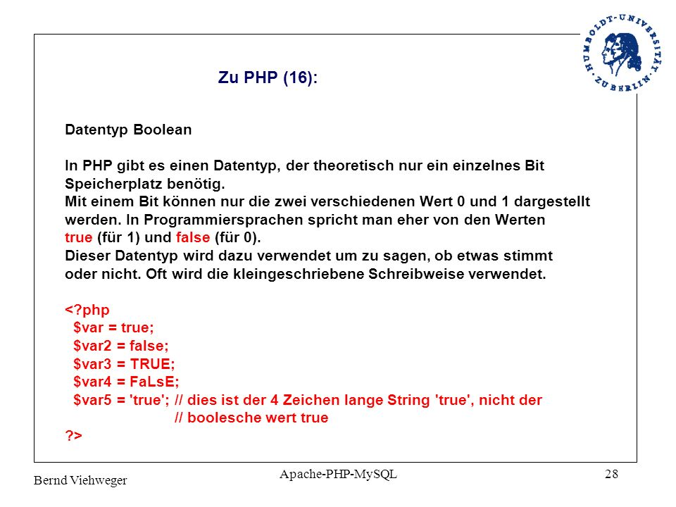 Zu PHP (16): Datentyp Boolean