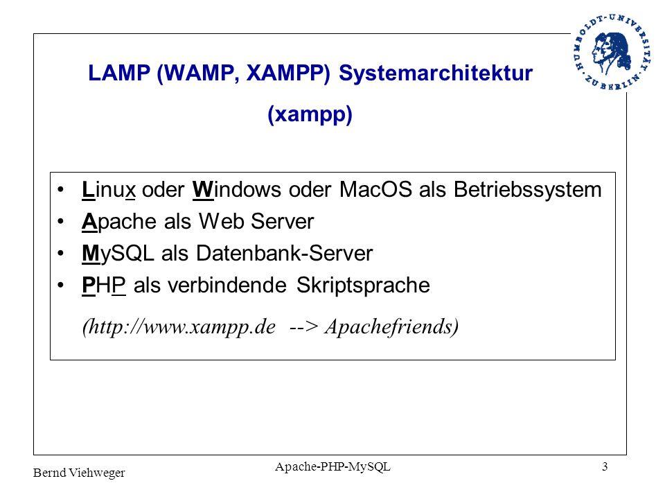 LAMP (WAMP, XAMPP) Systemarchitektur (xampp)