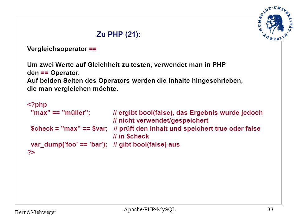 Zu PHP (21): Vergleichsoperator ==