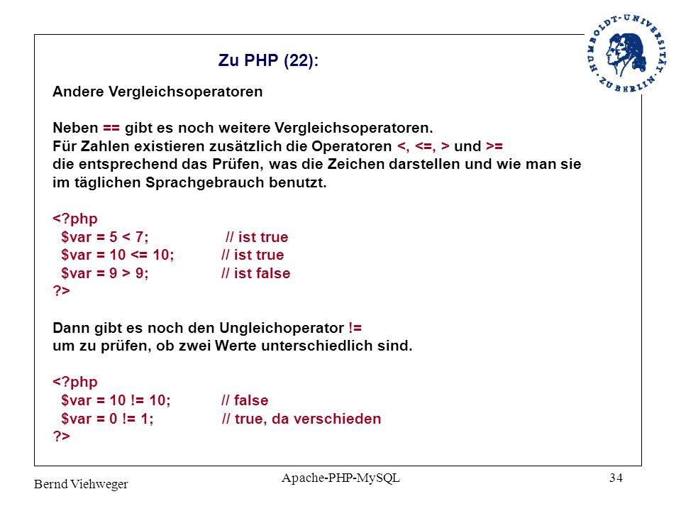 Zu PHP (22): Andere Vergleichsoperatoren