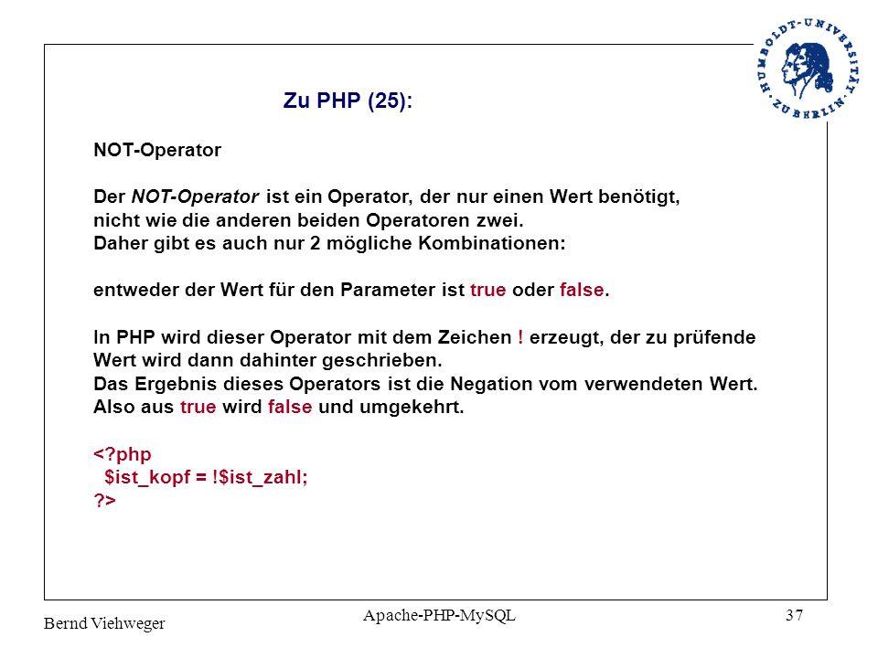 Zu PHP (25): NOT-Operator