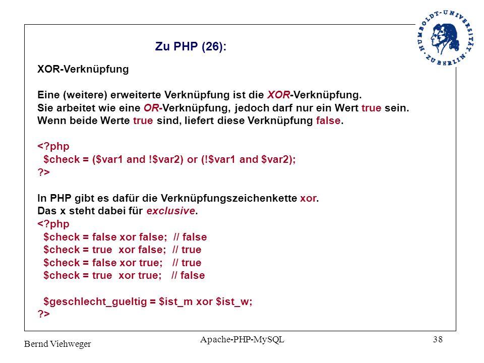 Zu PHP (26): XOR-Verknüpfung