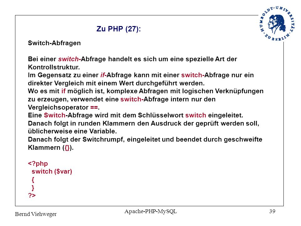 Zu PHP (27): Switch-Abfragen