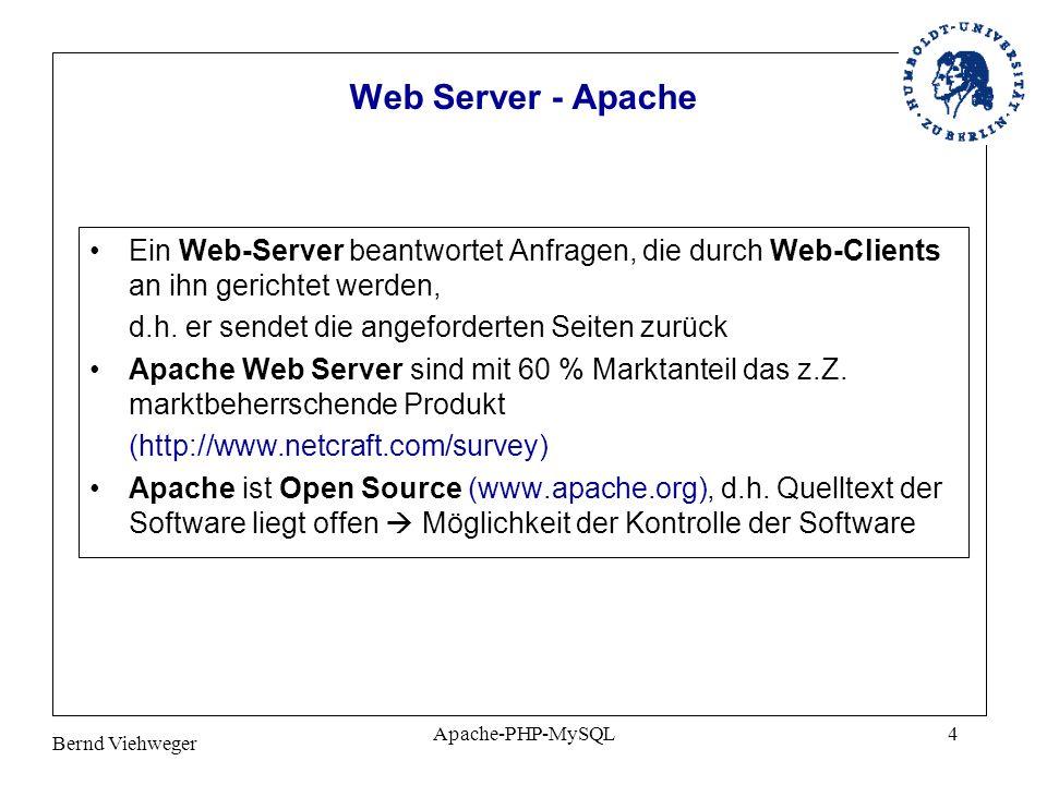Web Server - Apache Ein Web-Server beantwortet Anfragen, die durch Web-Clients an ihn gerichtet werden,