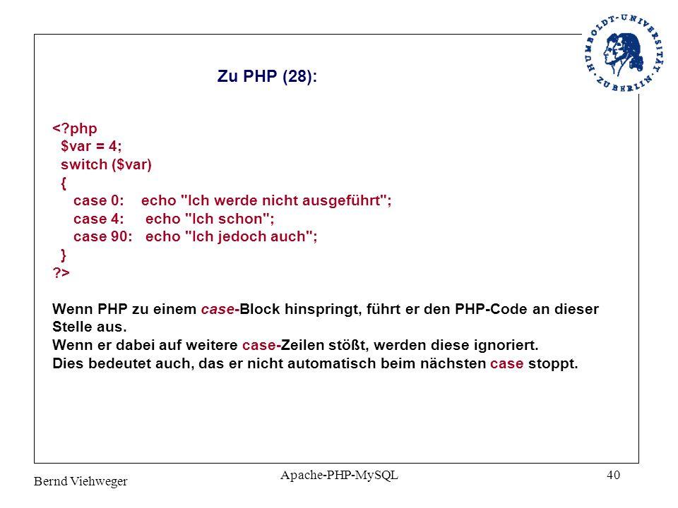 Zu PHP (28): < php $var = 4; switch ($var)