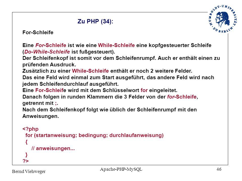 Zu PHP (34): For-Schleife