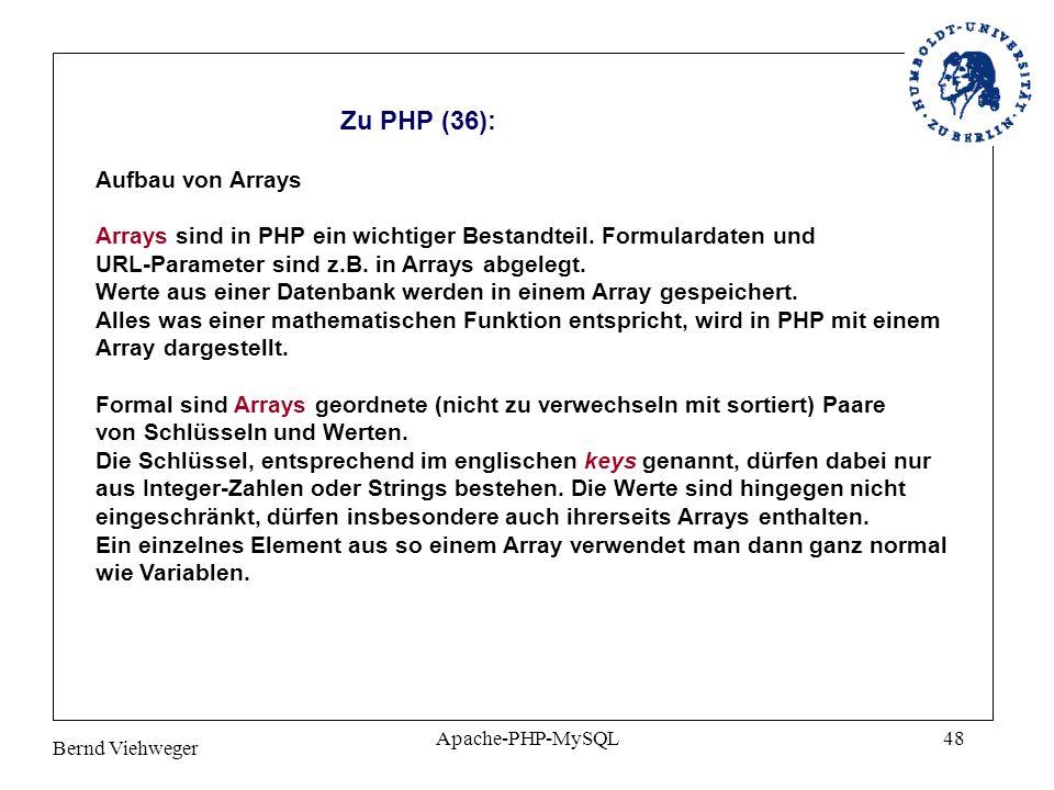 Zu PHP (36): Aufbau von Arrays