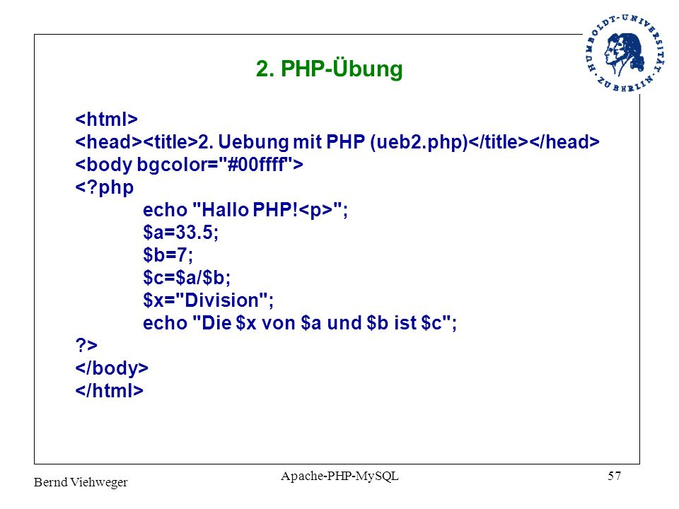 2. PHP-Übung <html>