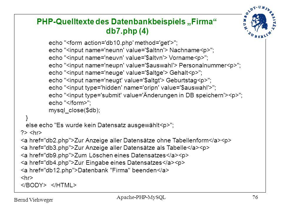 """PHP-Quelltexte des Datenbankbeispiels """"Firma"""