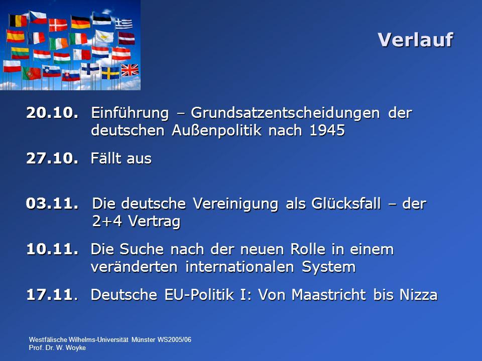 Verlauf 20.10. Einführung – Grundsatzentscheidungen der deutschen Außenpolitik nach 1945. 27.10. Fällt aus.