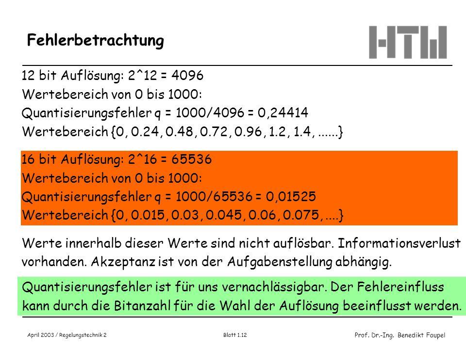 Fehlerbetrachtung 12 bit Auflösung: 2^12 = 4096
