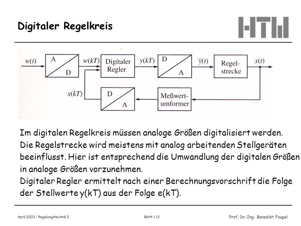 Digitaler Regelkreis Im digitalen Regelkreis müssen analoge Größen digitalisiert werden.
