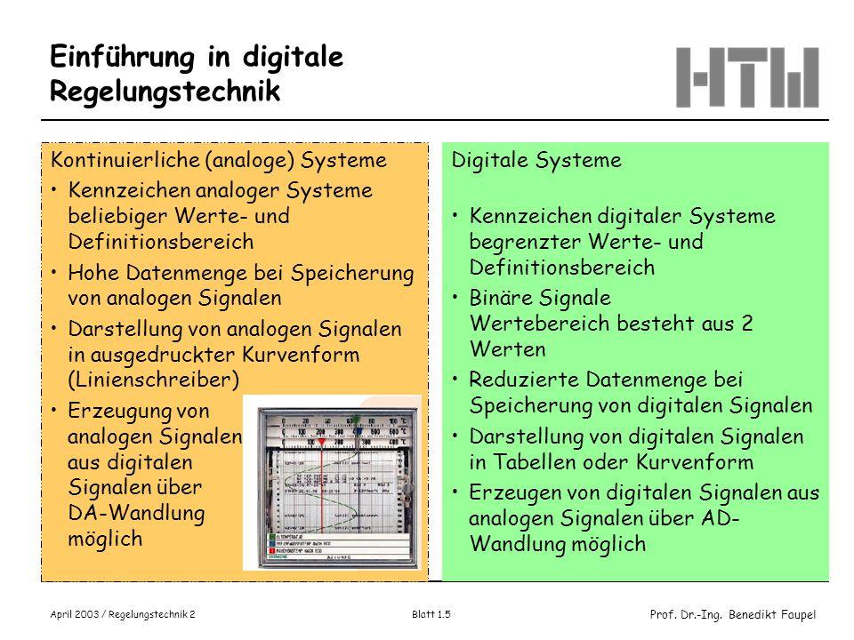 Einführung in digitale Regelungstechnik