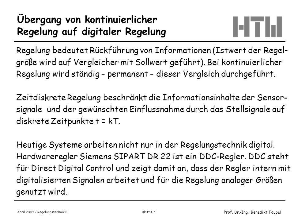 Übergang von kontinuierlicher Regelung auf digitaler Regelung