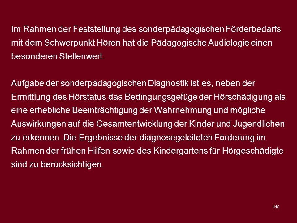 Im Rahmen der Feststellung des sonderpädagogischen Förderbedarfs mit dem Schwerpunkt Hören hat die Pädagogische Audiologie einen besonderen Stellenwert.