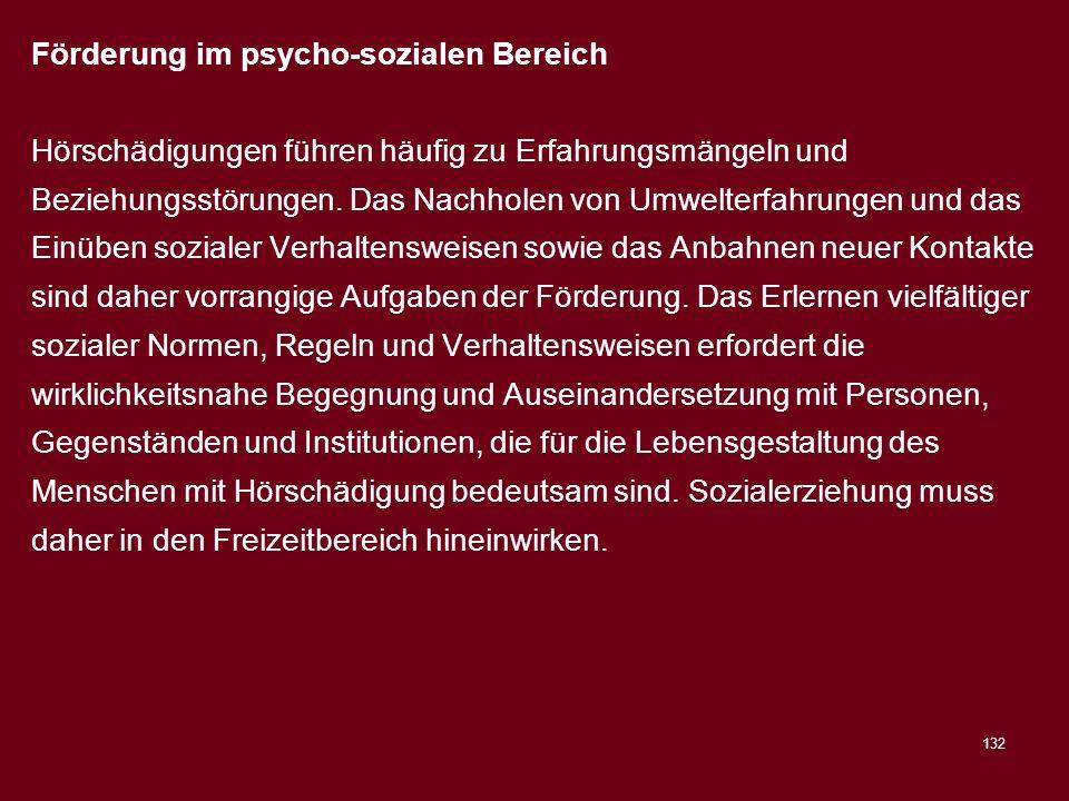 Förderung im psycho-sozialen Bereich
