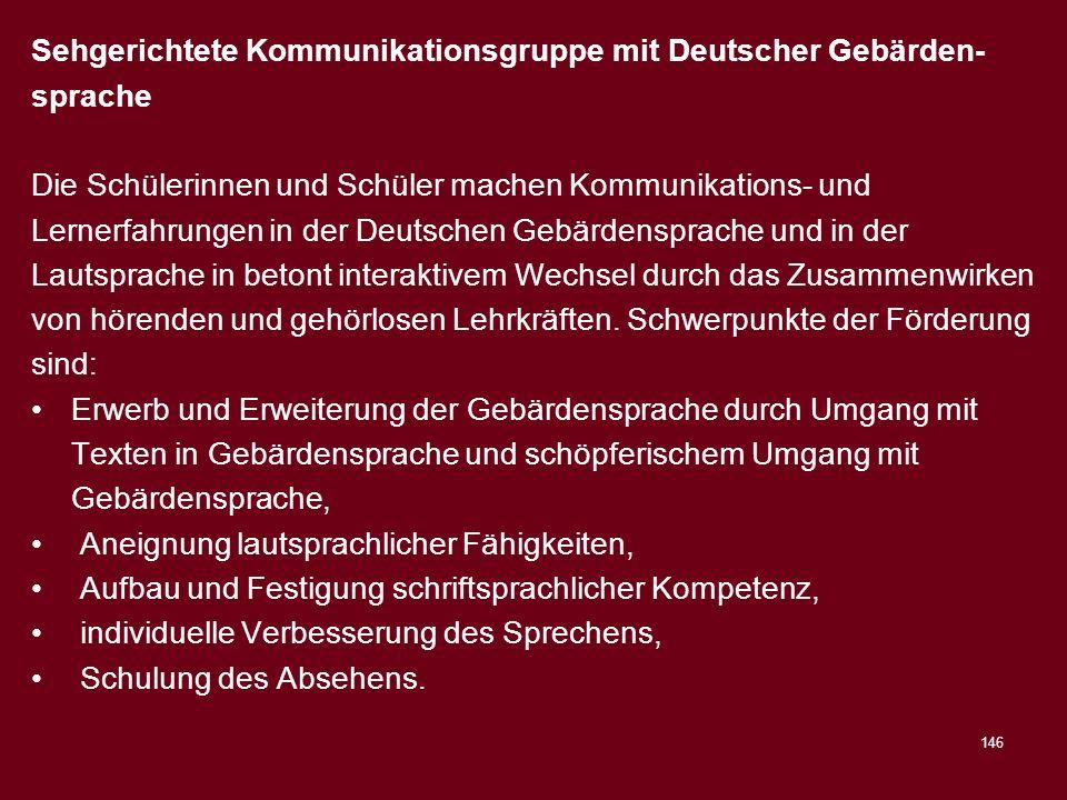 Sehgerichtete Kommunikationsgruppe mit Deutscher Gebärden-