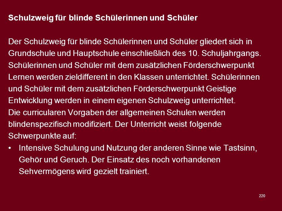 Schulzweig für blinde Schülerinnen und Schüler